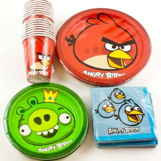 ANGRY BIRDS Birthday Party Supplies Plates Napkins Cups for 16 Kids