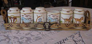 Vintage 40s FRED ROBERTS Chuck Wagon Western Condiment Salt Pepper Set