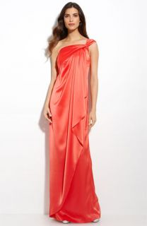 St. John Collection Liquid Satin One Shoulder Gown
