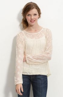 WallpapHer Long Sleeve Lace Top (Juniors)