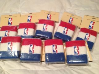 NEW 9 SETS OFFICIAL NBA DOUBLE WIDE STRIPE TERRY CLOTH WRISTBANDS