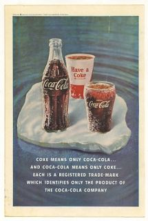 1961 Coke Means Coca Cola Bottle Paper Cup Glass Ad