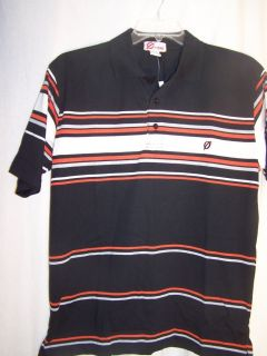 OMBRE Mens Size Large Polo Shirt Black Orange White Gray Casual or