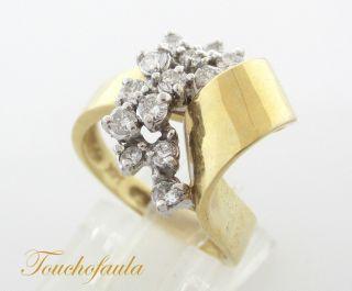 Yellow Gold Beautiful Diamond Cocktail Ring 0 43 cts Size 6 5