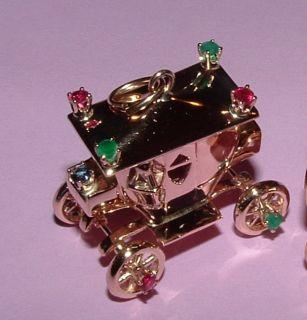 14K GOLD COACH CARRIAGE CINDERELLA CHARM BRACELET CHARM GEM STONES 3D