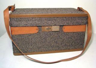 Vintage HARTMANN Luggage Leather Tweed Train Case Travel Bag