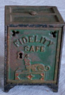 Antique Cast Iron Still Bank FIDELITY SAFE lock works nice paint