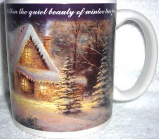 Kinkade 1997 Vtg Winter Scene Deer Creek Cottage Porcelain Coffee Mug