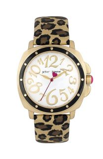 Betsey Johnson Round Dial Leopard Strap Watch