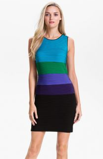 Calvin Klein Pleated Colorblock Jersey Dress