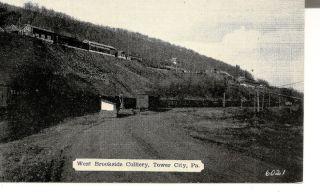Postcard Tower City West Brookside PA Coal mining railroad cars