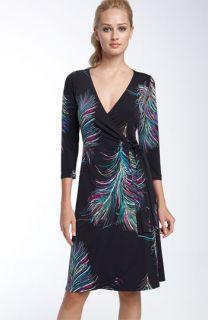 Lily Print Matte Jersey Wrap Dress