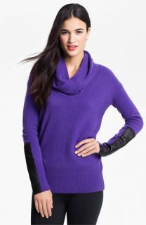 DKNYC Faux Leather Trim Cowl Neck Sweater