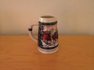 1993 Budweiser Holiday Christmas Stein Collection Glass Mug Cup