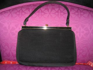 Vtg Coblentz Original Black Enamel Gold 1950 60s Pleated Ribbed Purse