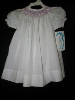New Smocked Bishop Dress Bow Peep Sz 18 Months Boutique