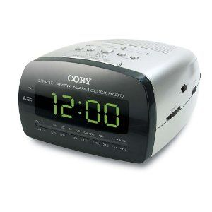 Coby CRA58 LED Digital Am FM Alarm Clock Radio Big Display Sliver