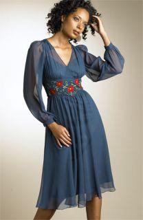Betsey Johnson Embroidered Silk Chiffon Dress