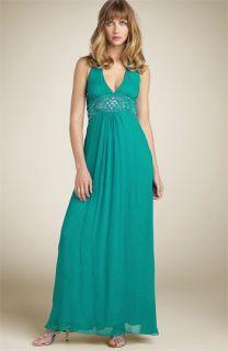 Adrianna Papell Bead Chiffon Halter Dress