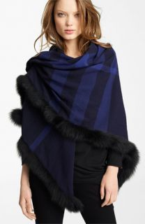 Burberry Genuine Fox Fur Trim Wool Wrap