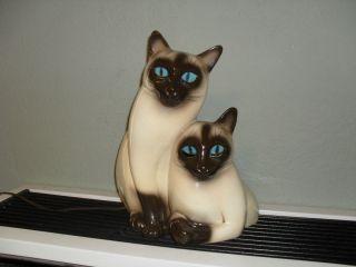 Vintage 1950s 60s Kron Ceramic Siamese Cat Figurine Tv
