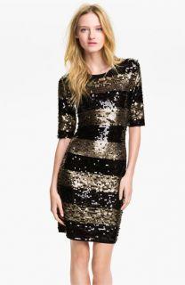 BCBGMAXAZRIA Sequin Stripe Sheath Dress