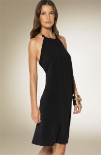 Lauren by Ralph Lauren Matte Jersey Beaded Halter Dress