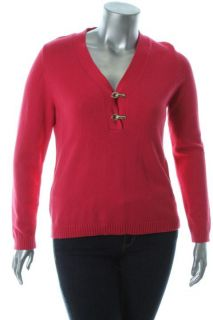 Charter Club New Pink V Neck Long Sleeve Ribbed Trim Henley Sweater