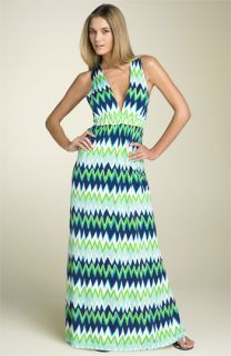 Julie Brown Print Silk Maxi Dress