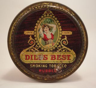 Antique Dills Best Patented Humidor Collectible Tobacco Tin
