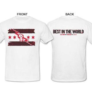 Cm Punk Best in The World WWE Custom White T Shirt Sz s M L XL 2XL