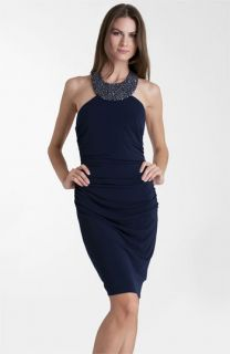 JS Boutique Beaded Jersey Halter Dress