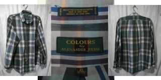 Vintage COLOURS Alexander Julian Mens XL Plaid LS Shirt Top