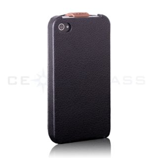 Coffee Stripe Flip Leather Case Cover Pouch for iPhone 4S 4 Black