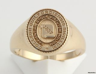 College Womens Signet Style Class Ring   14k Yellow Gold Solid Back A+