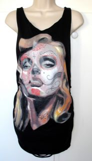 DIY Cut Shirt Marilyn Monroe Sugar Skull Rip Torn Punk Rock Shred
