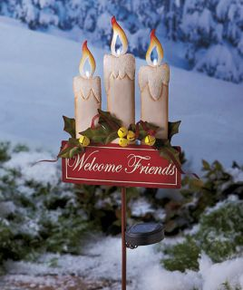SOLAR HOLIDAY LIGHTED CANDLE STAKE WITH WELCOME FRIENDS ONLY 1