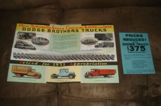 VINTAGE AUTO CAR COLLECTIBLE 1931 DODGE BROTHERS 375 TRUCKS OLD DEALER