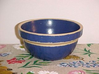 Blue Yellow Ware Bowl Blue 5 Picket Fence USA Stoneware Crock