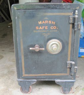 MARSH SAFE CO BRIDGEPORT CT CAST IRON FLOOR SAFE WITH COMBINATION
