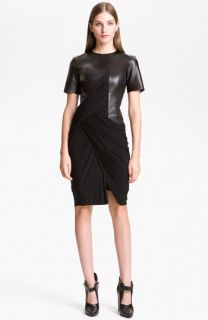 Alexander Wang Draped Knit & Leather Dress