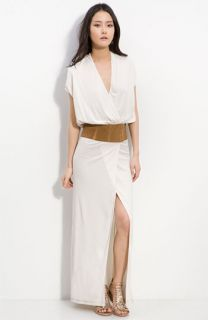 Haute Hippie Plunge Neck Belted Wrap Maxi Dress