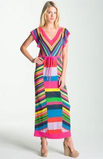 Nanette Lepore Fiesta Striped Sweater Knit Maxi Dress