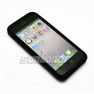 Black color of soft Silicone Case Cover Skin for Apple iPhone 5 . US