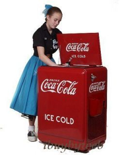 Retro 1930s Style Coca Cola Refrigerator Fridge Coke Machine Ice Box