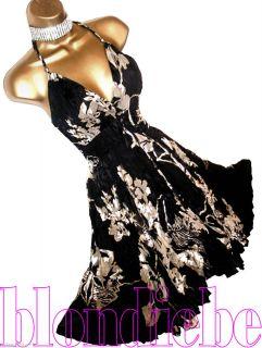 ♥stunning♥ Black Floral Cocktail Glamour Dress ♥ UK 8
