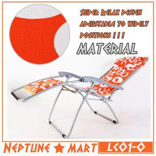 Neptune』Orange White Folding Lounge Chair Leisure Beach Recliner