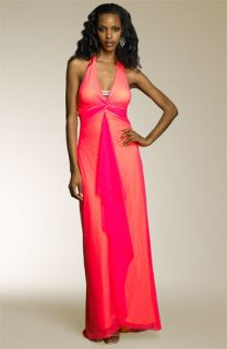 Mary L Couture Double Layer Mesh Gown with Rhinestones