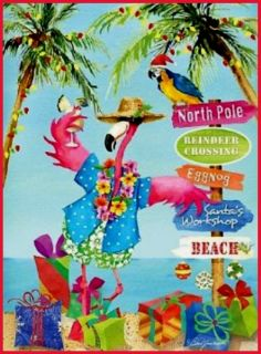 Pink FLAMINGO PALM Tree Florida Christmas 16 Holiday Boxed Cards NEW