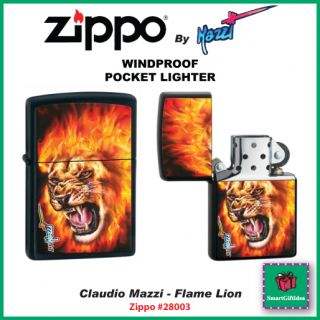 CLAUDIO MAZZI FLAME LION BLACK MATTE FINISH GENUINE USA ZIPPO LIGHTER